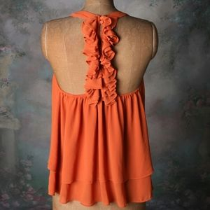 Naked Zebra ruffle t-back top warm pumpkin Small